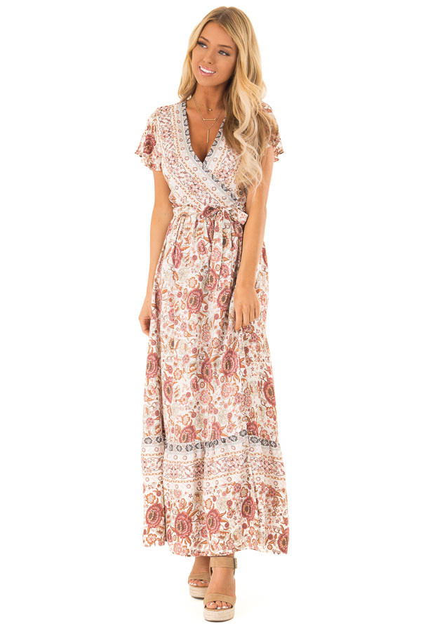 Ivory and Mauve Floral Print V Neck Maxi Wrap Dress with Tie front full body