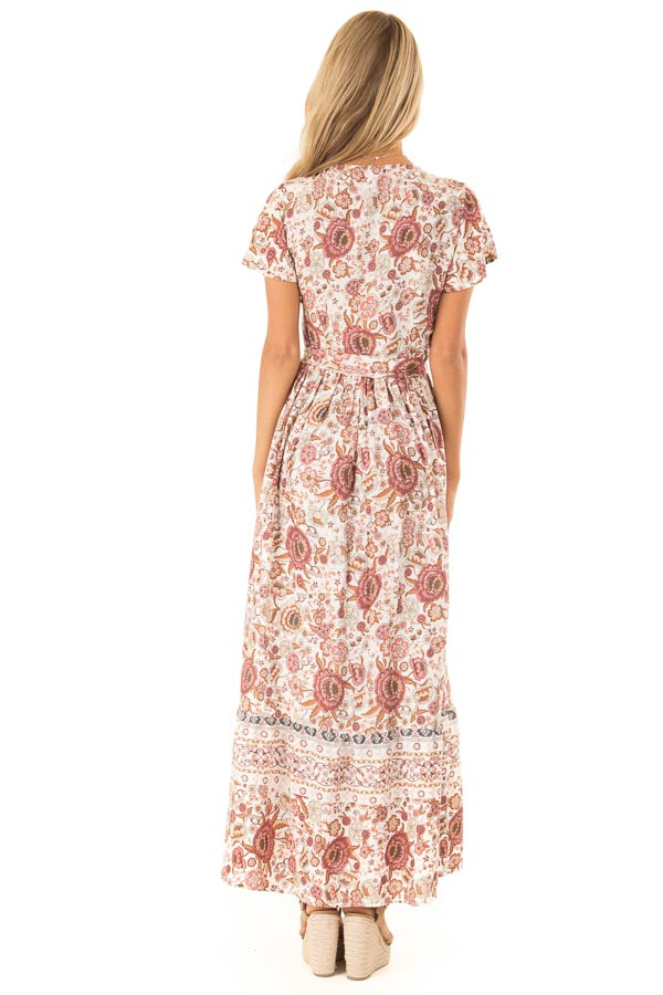 Ivory and Mauve Floral Print V Neck Maxi Wrap Dress with Tie back full body