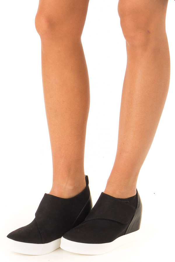 Black Faux Suede Wedge Sneaker with Velcro Strap side view