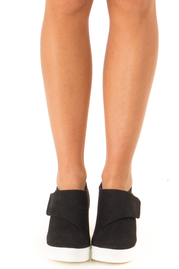 Black Faux Suede Wedge Sneaker with Velcro Strap front view