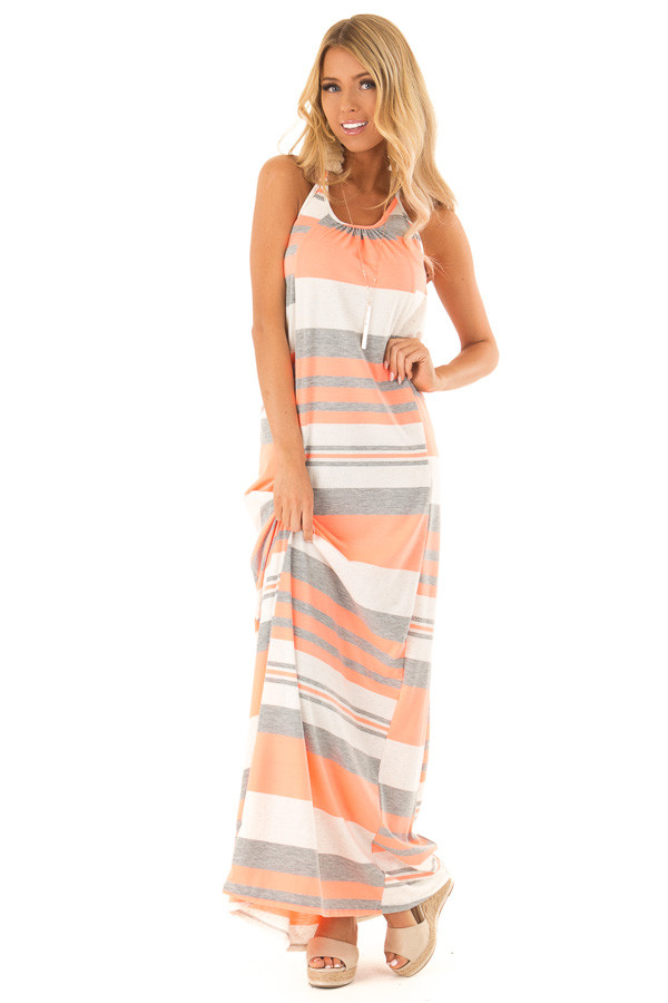 Neon Coral Striped Maxi Dress with Back T Strap Detail front full body