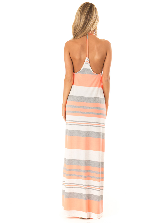 Neon Coral Striped Maxi Dress with Back T Strap Detail back full body
