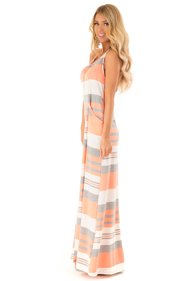 Neon Coral Striped Maxi Dress with Back T Strap Detail side full body