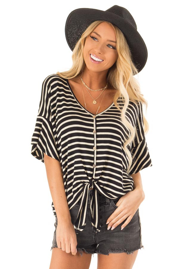 Black and Oatmeal Striped Button Up Top with Ruffle Sleeves front close up