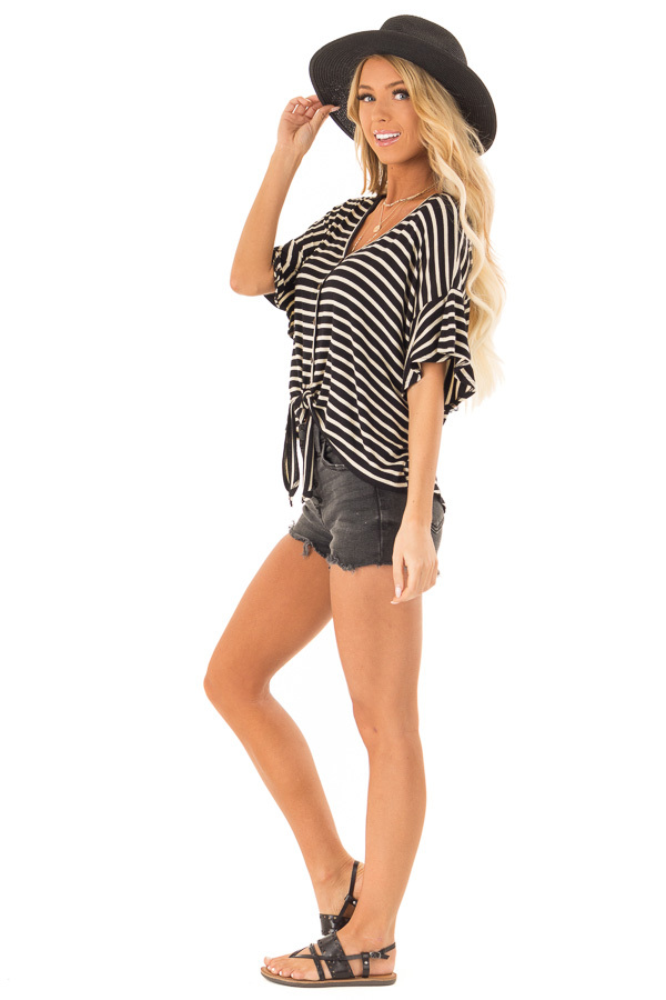 Black and Oatmeal Striped Button Up Top with Ruffle Sleeves side full body