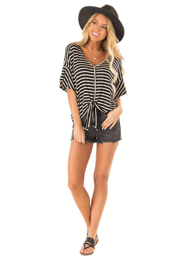 Black and Oatmeal Striped Button Up Top with Ruffle Sleeves front full body