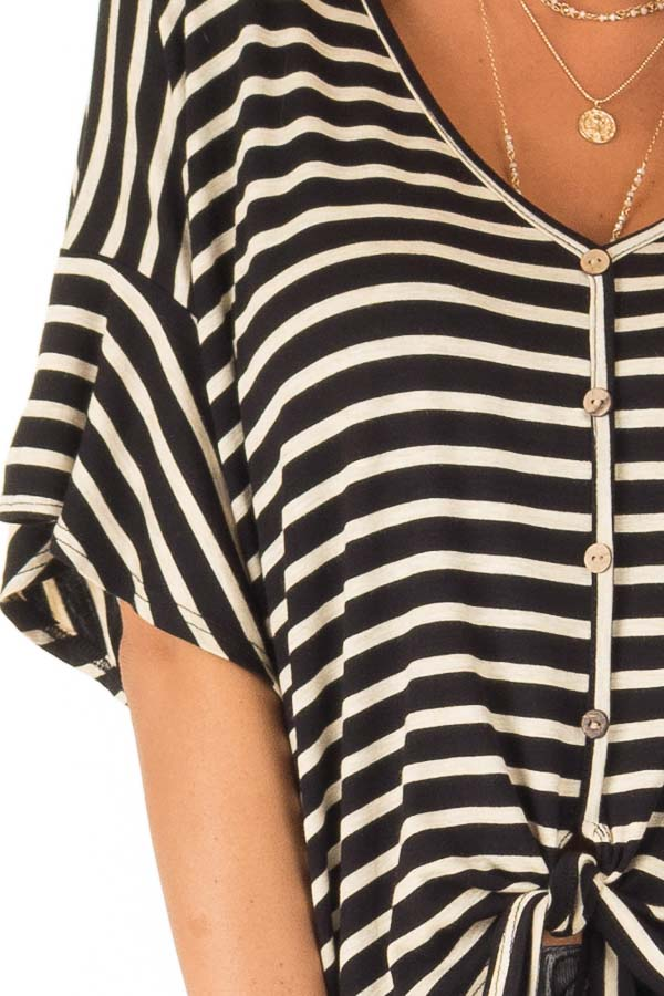 Black and Oatmeal Striped Button Up Top with Ruffle Sleeves detail
