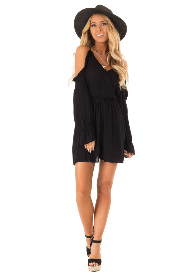 Raven Black Surplice Cold Shoulder Romper with Ruffle Detail front full body