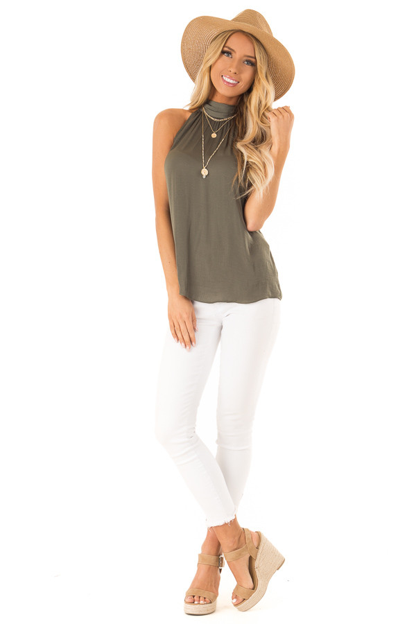 Olive Flowy High Neck Tank Top with Tie Detail front full body