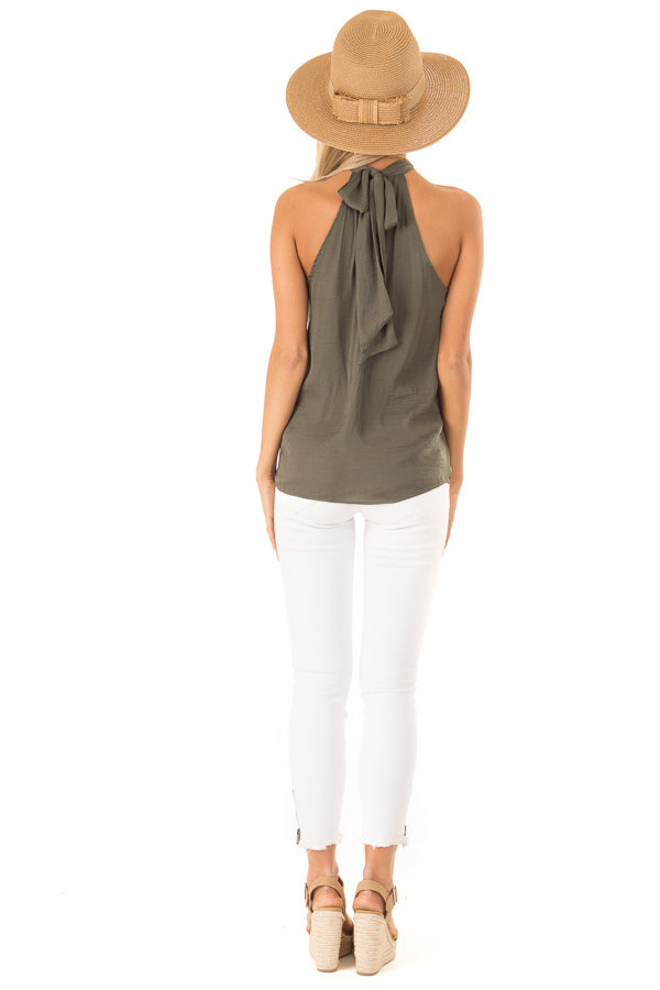 Olive Flowy High Neck Tank Top with Tie Detail back full body