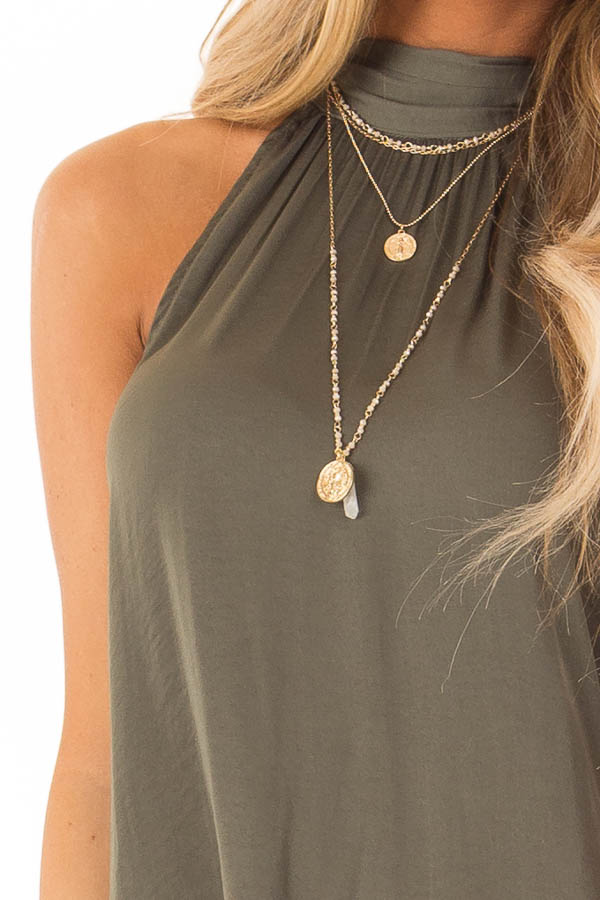 Olive Flowy High Neck Tank Top with Tie Detail detail