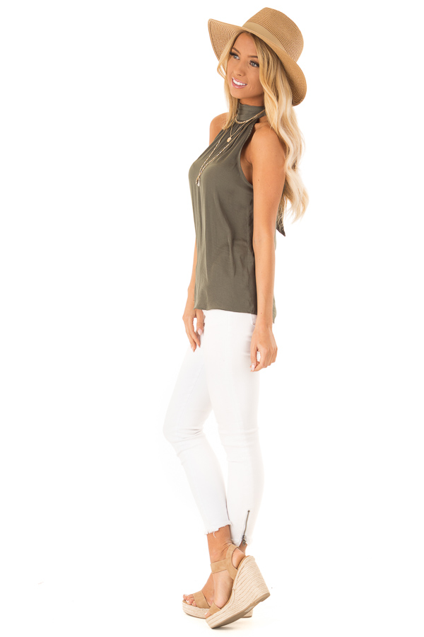 Olive Flowy High Neck Tank Top with Tie Detail side full body