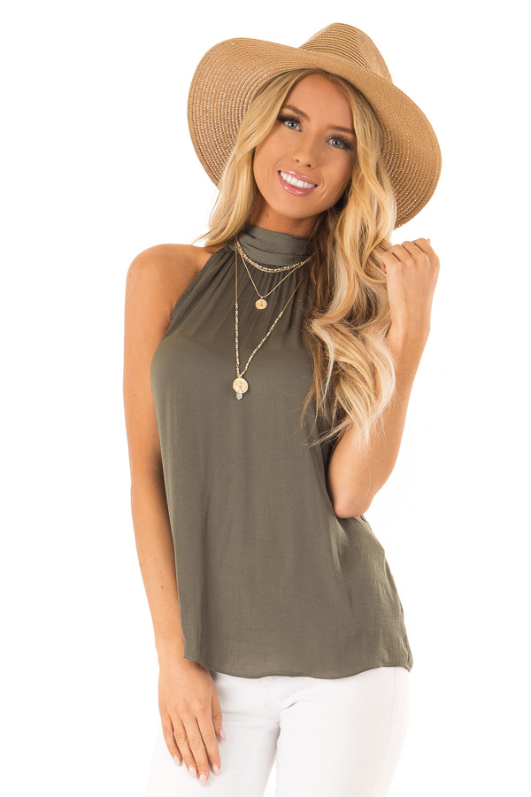 Olive Flowy High Neck Tank Top with Tie Detail front close up