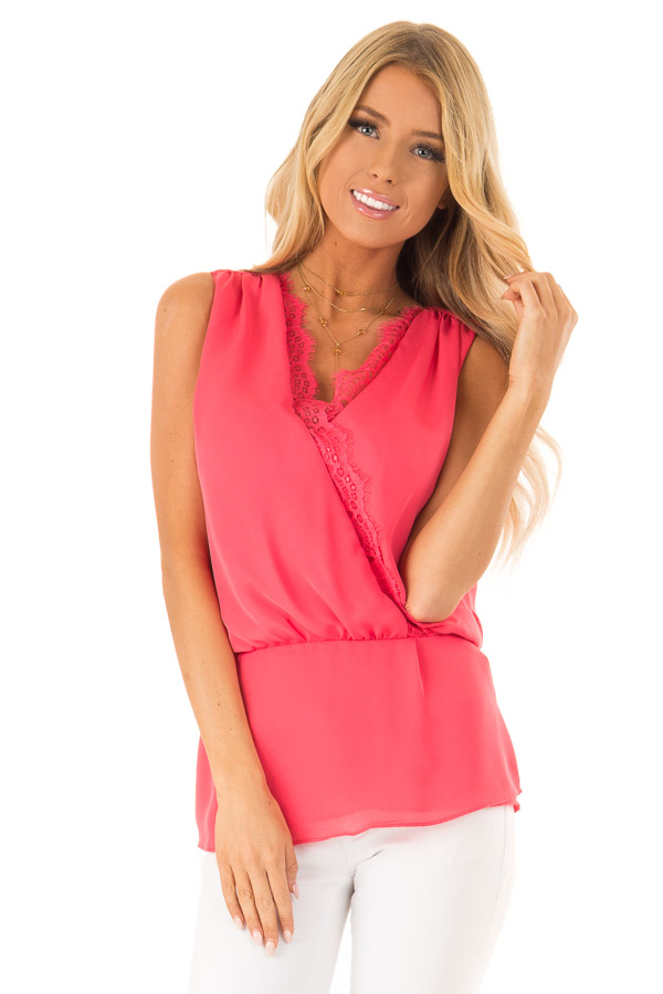 Watermelon V Neck Surplice Tank Top with Waist Tie Detail front close up