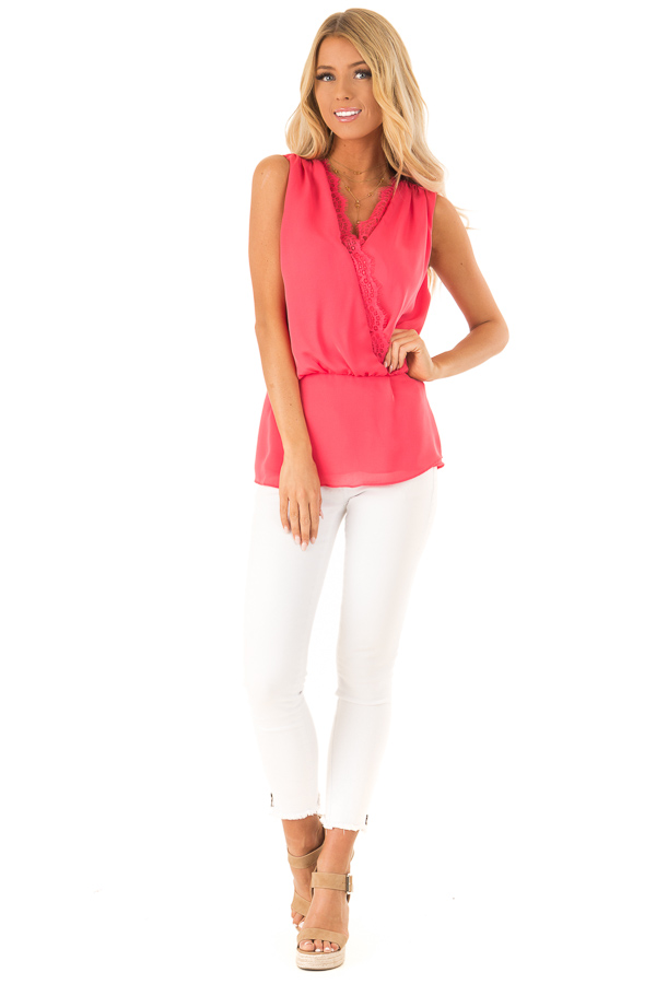 Watermelon V Neck Surplice Tank Top with Waist Tie Detail front full body