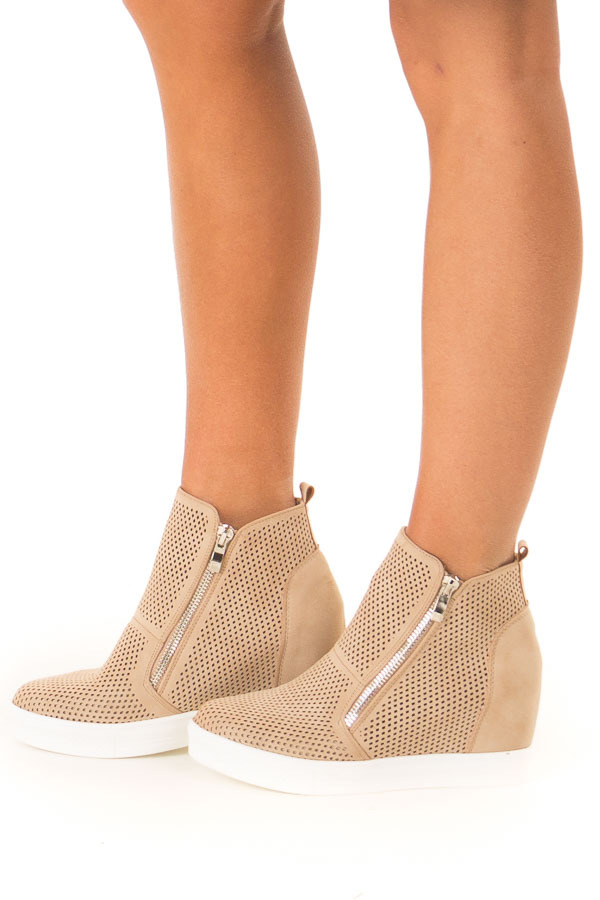 Beige Faux Suede Perforated Wedge Sneaker side view