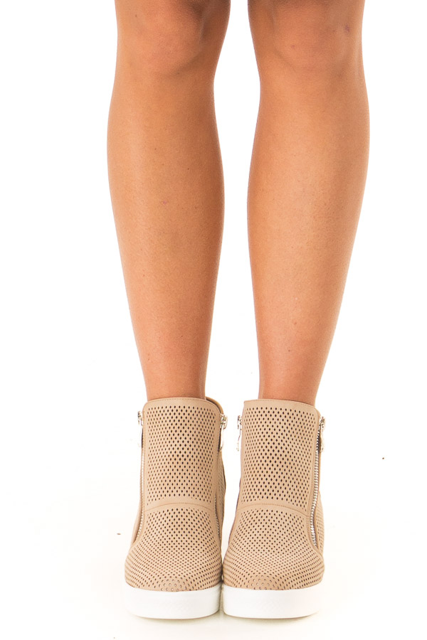 Beige Faux Suede Perforated Wedge Sneaker front view
