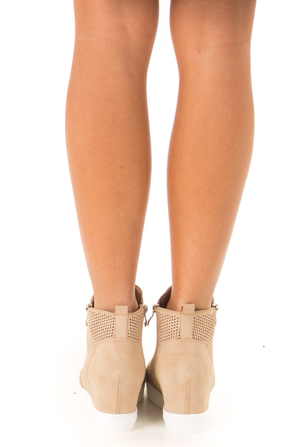 Beige Faux Suede Perforated Wedge Sneaker back view
