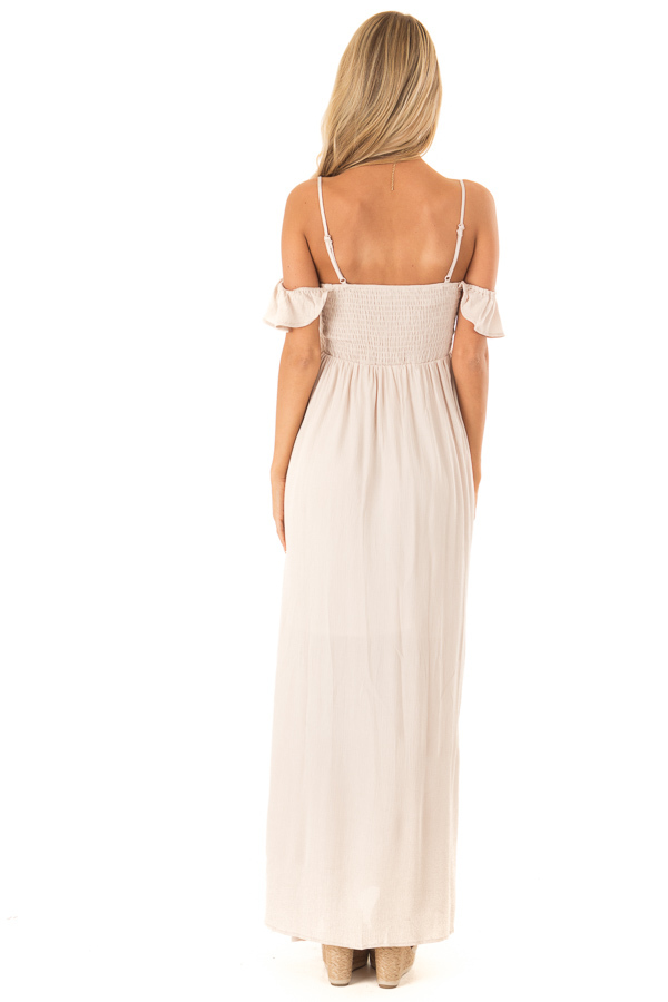 Almond Cold Shoulder Maxi Dress with Smocked Bust back full body