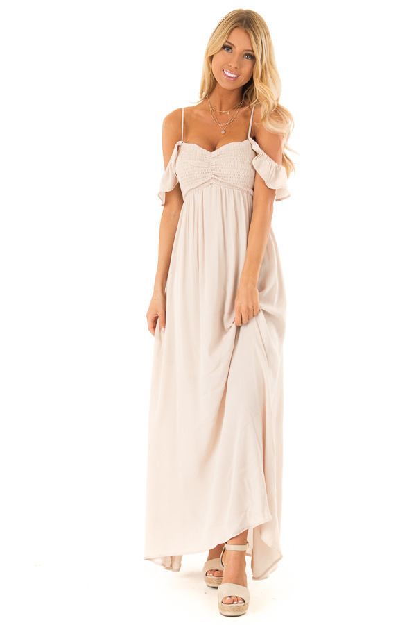 Almond Cold Shoulder Maxi Dress with Smocked Bust front full body