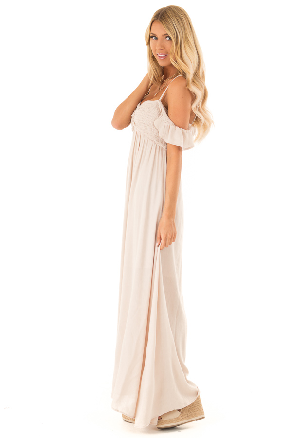 Almond Cold Shoulder Maxi Dress with Smocked Bust side full body