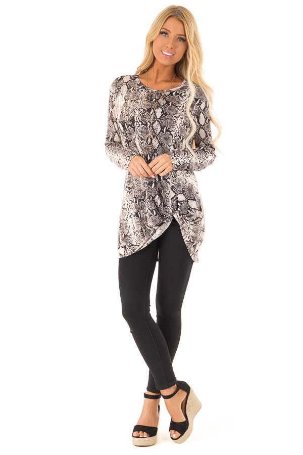 Obsidian and Ivory Snake Print Top with Twist Detail front full body