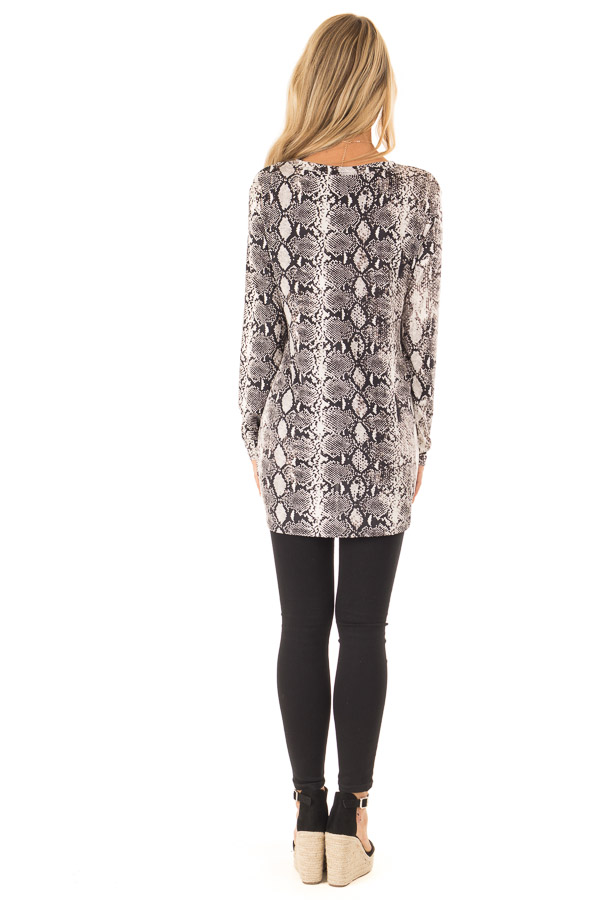 Obsidian and Ivory Snake Print Top with Twist Detail back full body