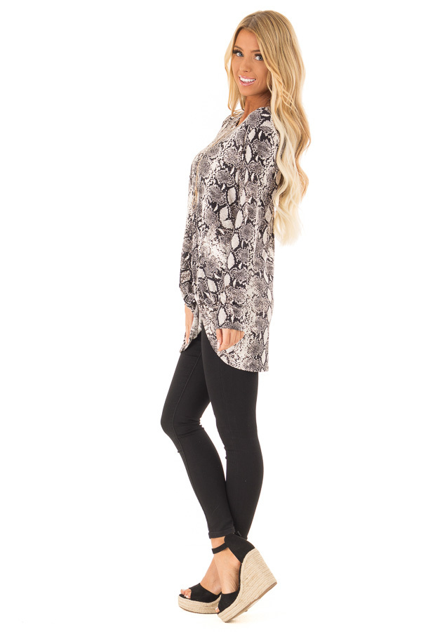 Obsidian and Ivory Snake Print Top with Twist Detail side full body