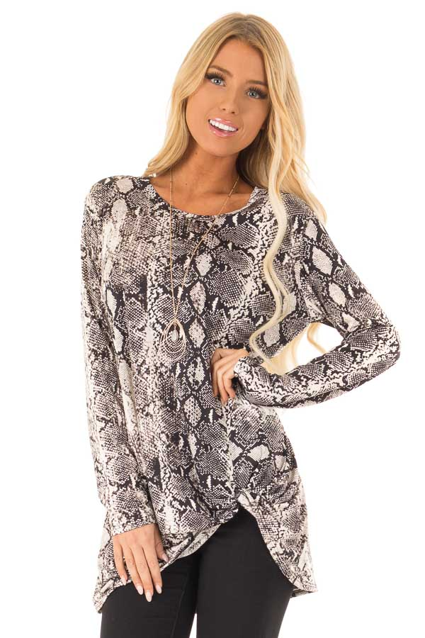 Obsidian and Ivory Snake Print Top with Twist Detail front close up