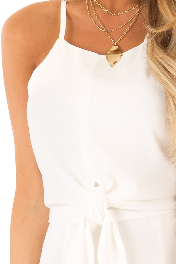 Off White Sleeveless High Neck Romper with Front Knot Detail detail