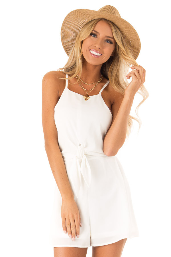 Off White Sleeveless High Neck Romper with Front Knot Detail front close up