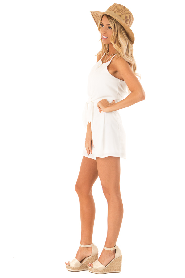 Off White Sleeveless High Neck Romper with Front Knot Detail side full body