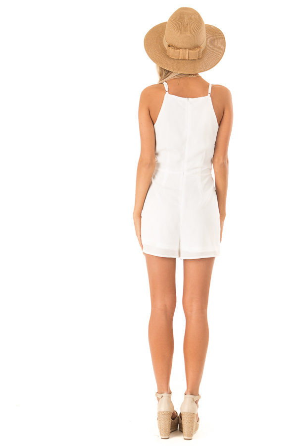 Off White Sleeveless High Neck Romper with Front Knot Detail back full body