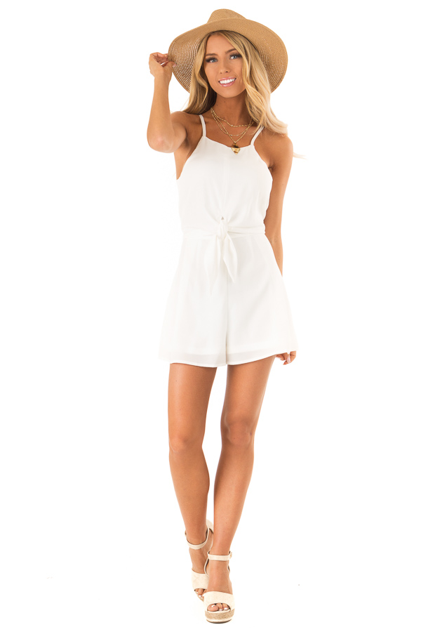 Off White Sleeveless High Neck Romper with Front Knot Detail front full body
