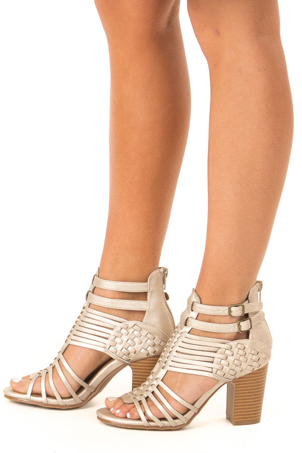 Metallic White Gold Strappy Chunky Heel with Double Buckle side view