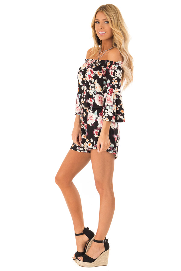 Midnight Black Floral Off Shoulder Romper with Front Tie side full body
