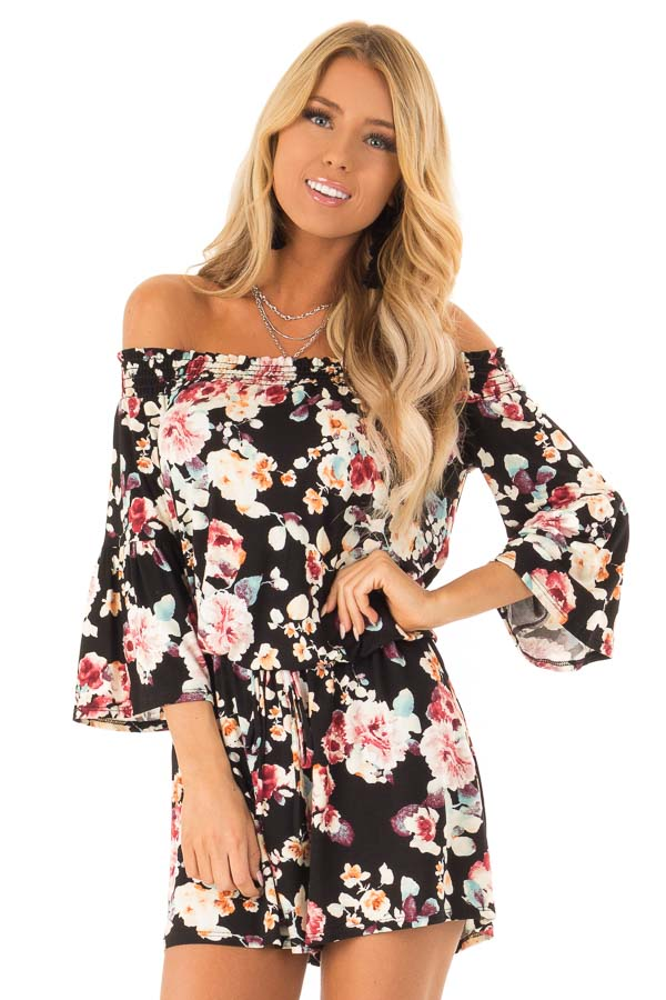 Midnight Black Floral Off Shoulder Romper with Front Tie front close up