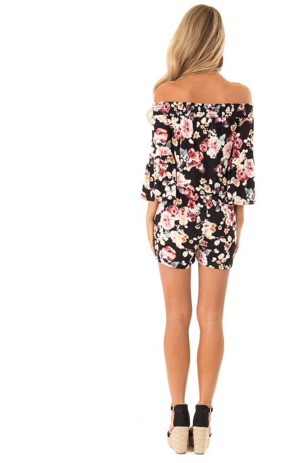 Midnight Black Floral Off Shoulder Romper with Front Tie back full body