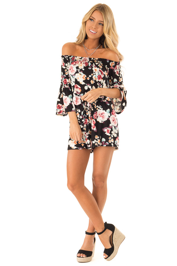 Midnight Black Floral Off Shoulder Romper with Front Tie front full body