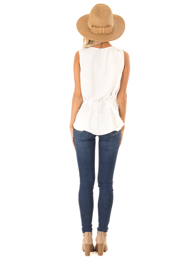 Off White V Neck Surplice Tank Top with Waist Tie Detail back full body