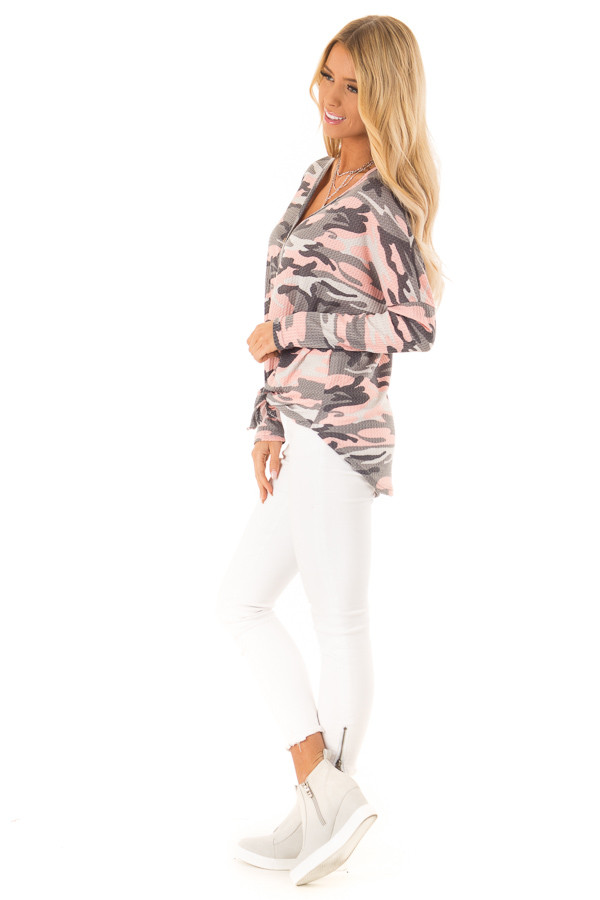 Peachy Pink Camo Waffle Knit Long Sleeve Button Up Top side full body