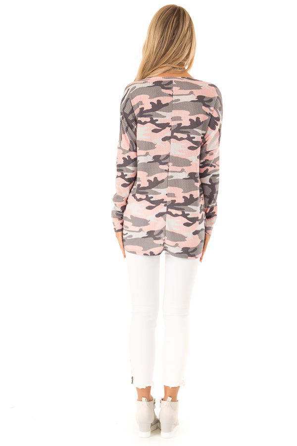 Peachy Pink Camo Waffle Knit Long Sleeve Button Up Top back full body