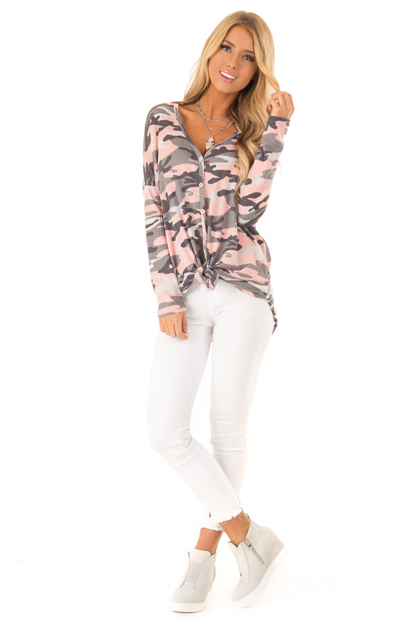 Peachy Pink Camo Waffle Knit Long Sleeve Button Up Top front full body