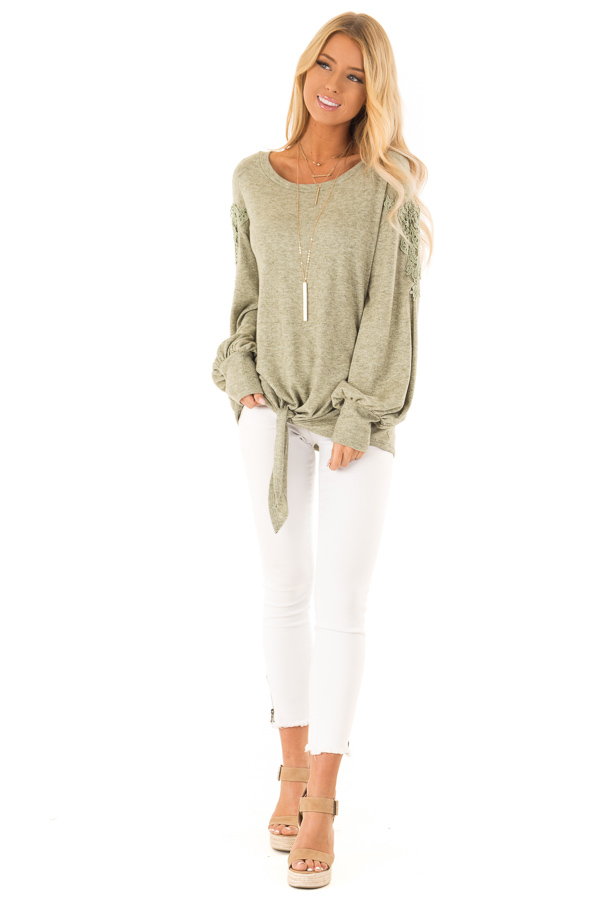 Pine Needle Long Sleeve Top with Crochet Details and Tie front full body