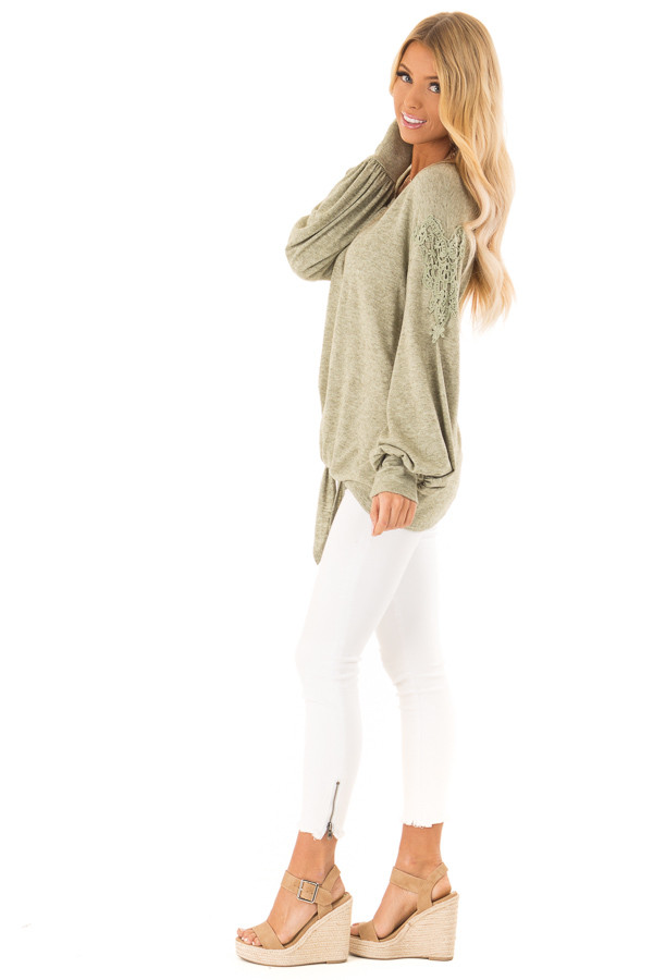 Pine Needle Long Sleeve Top with Crochet Details and Tie side full body