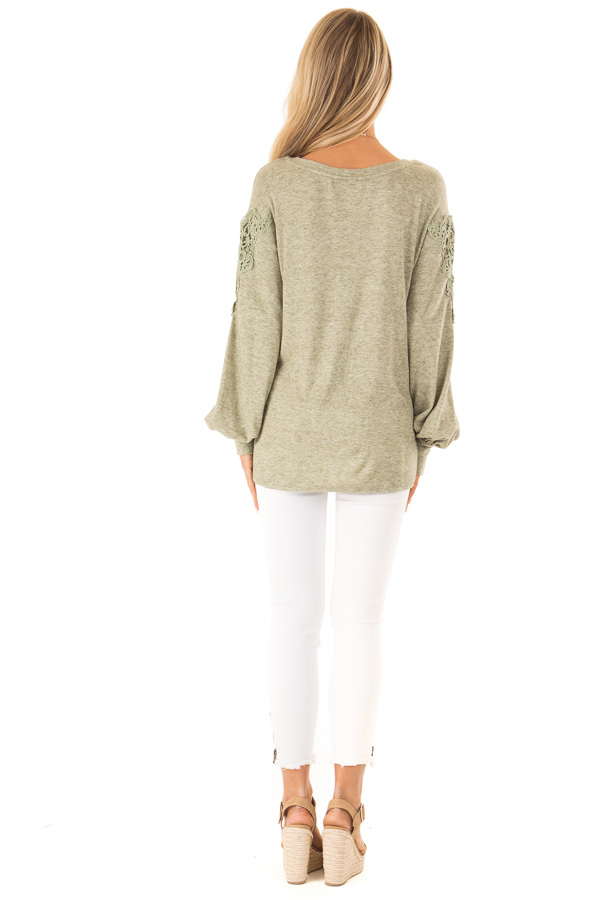 Pine Needle Long Sleeve Top with Crochet Details and Tie back full body