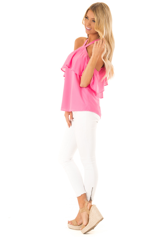 Bubblegum Pink Layered Cold Shoulder Halter Top with Tie side full body