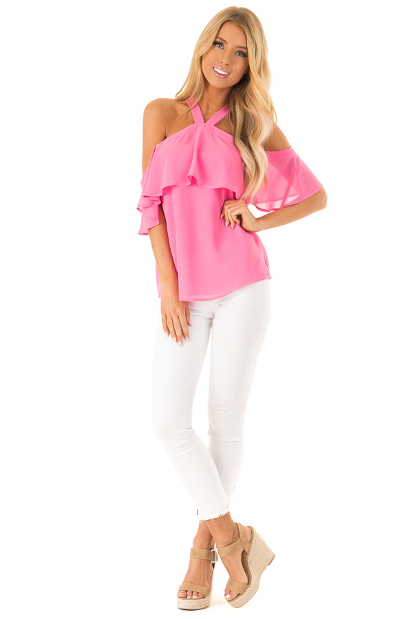 Bubblegum Pink Layered Cold Shoulder Halter Top with Tie front full body