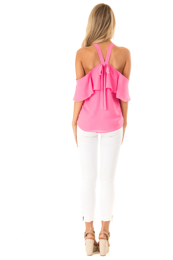 Bubblegum Pink Layered Cold Shoulder Halter Top with Tie back full body