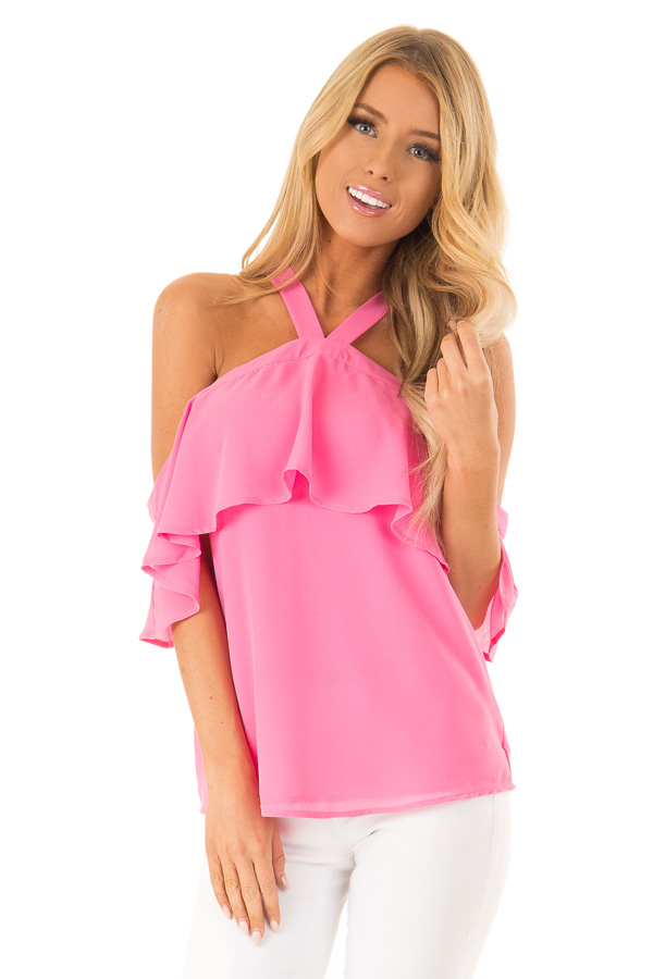 Bubblegum Pink Layered Cold Shoulder Halter Top with Tie front close up